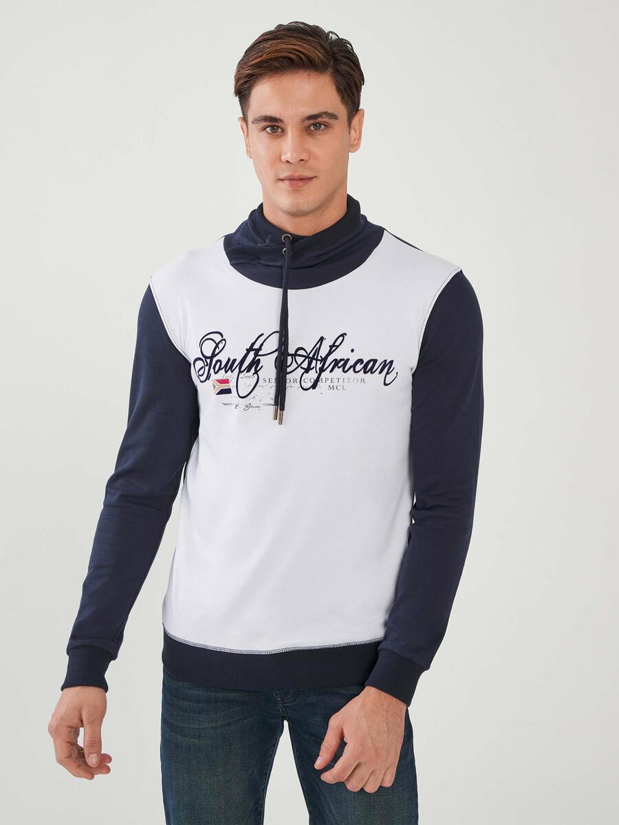 Şal Yaka Baskılı %100 Pamuk Büyük beden Sweatshirt