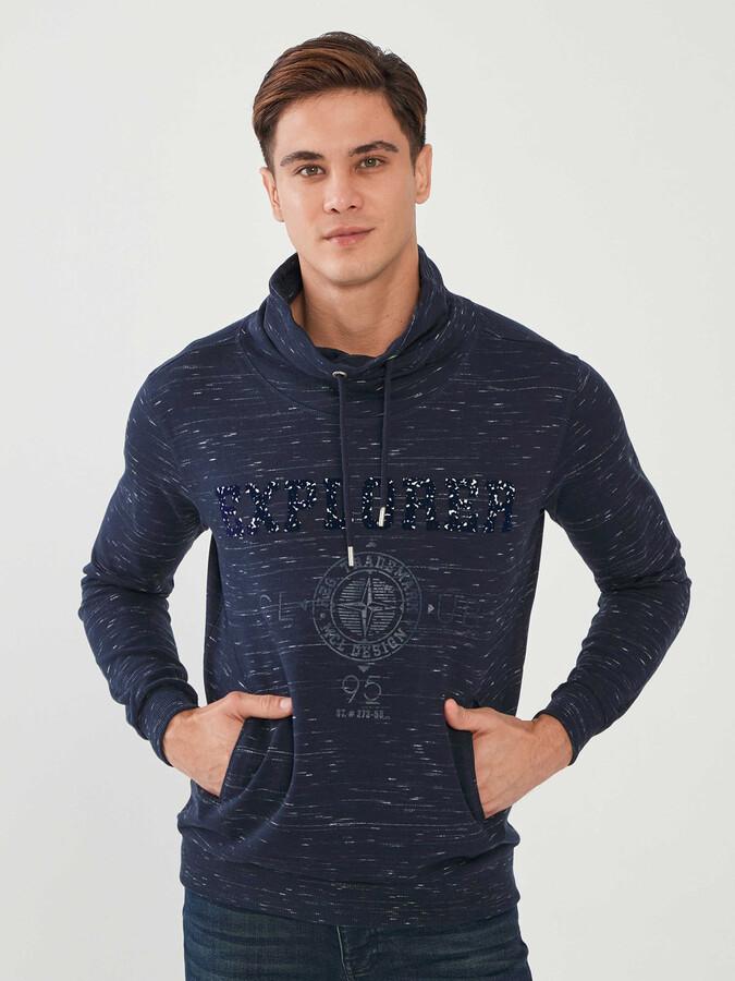 Şal Yaka Pamuklu Baskılı Sweatshirt