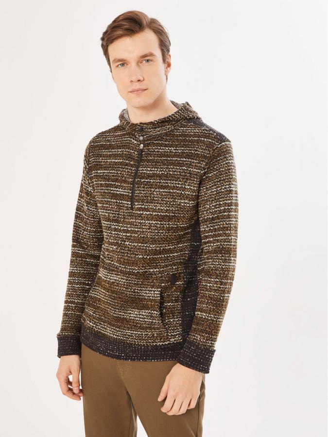 XINT - Xint Kapüşonlu Triko Görünümlü Sweatshirt