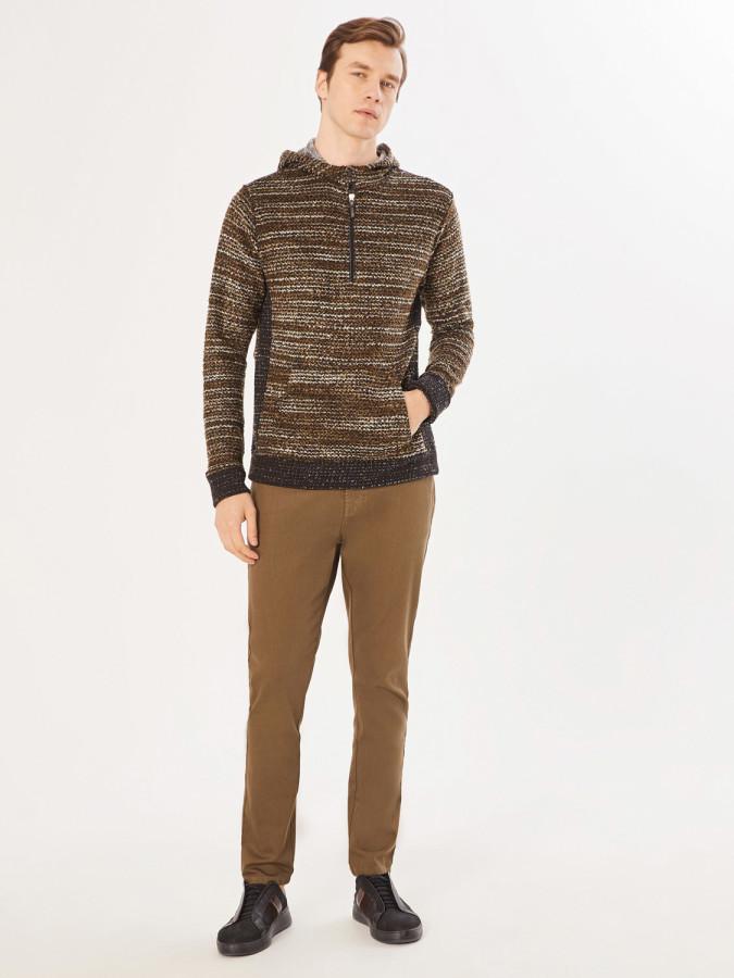 XINT - Xint Kapüşonlu Triko Görünümlü Sweatshirt (1)