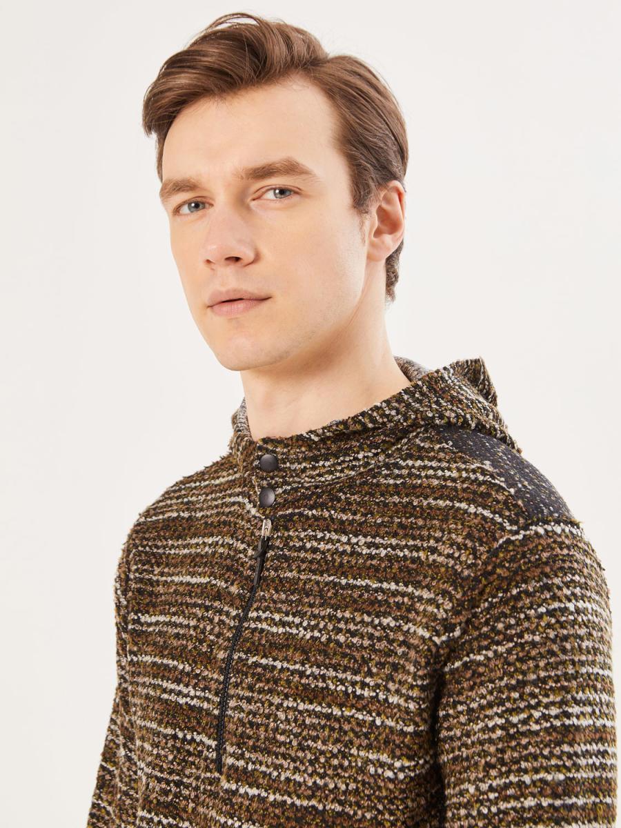 Xint Kapüşonlu Triko Görünümlü Sweatshirt