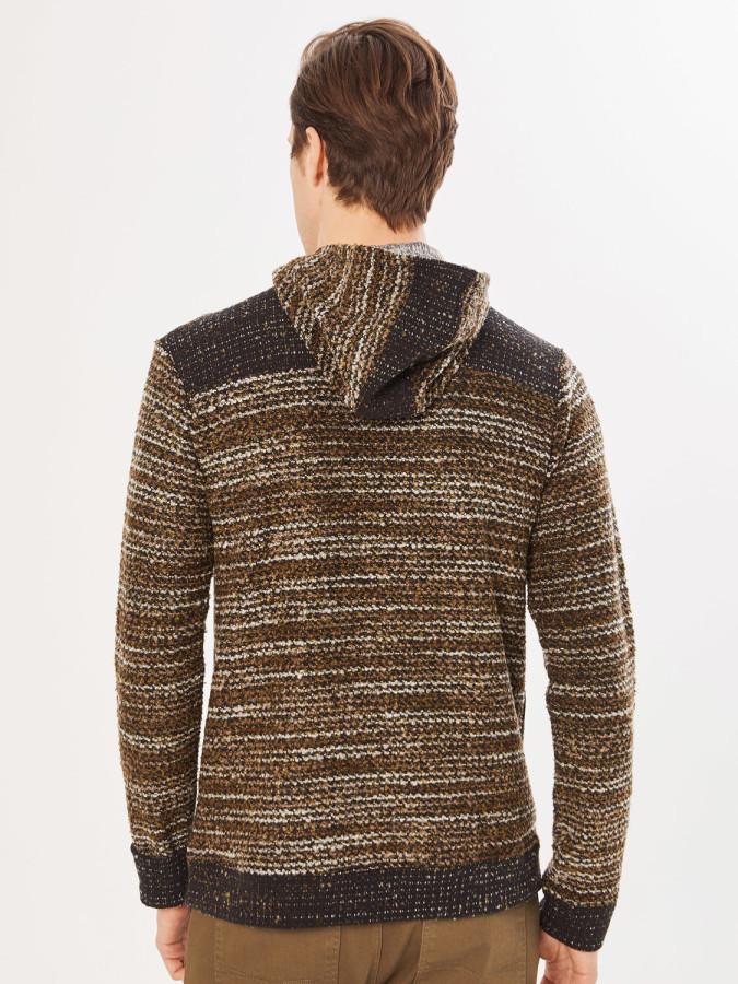Xint Kapüşonlu Triko Görünümlü Sweatshirt - Thumbnail