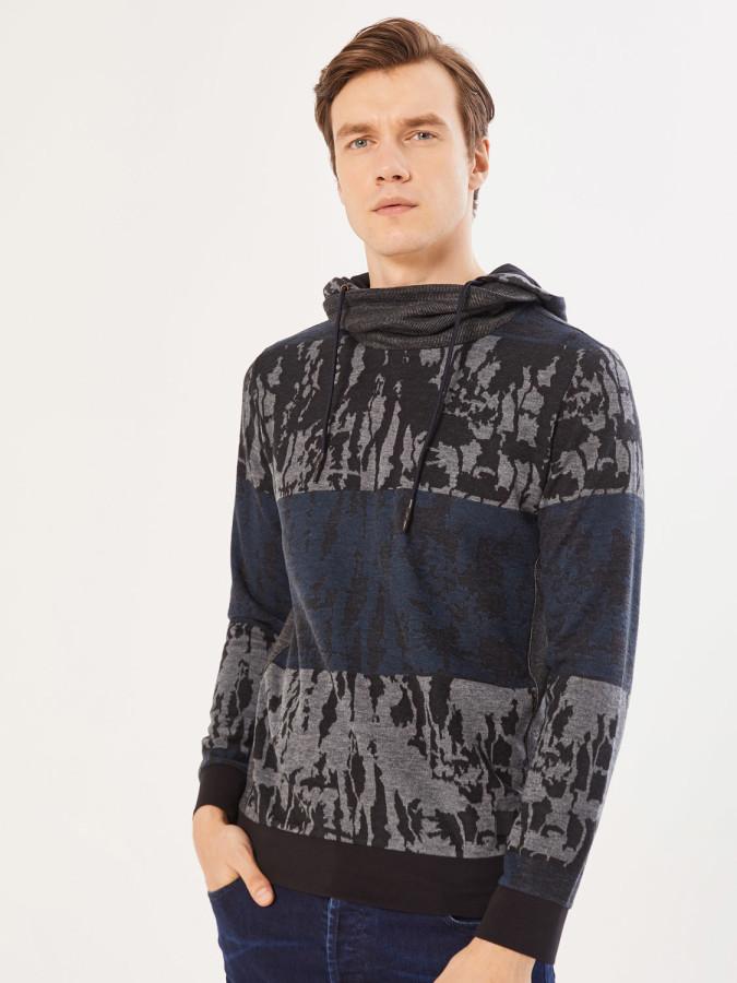 XINT - Xint Şal Yaka Kapüşonlu Sweatshirt