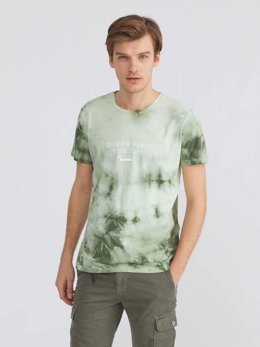Bisiklet Yaka %100 Pamuk Batik Desenli Slim Fit Tişört