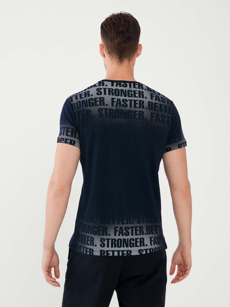 Bisiklet Yaka %100 Pamuk Slim Fit Baskılı Tişört