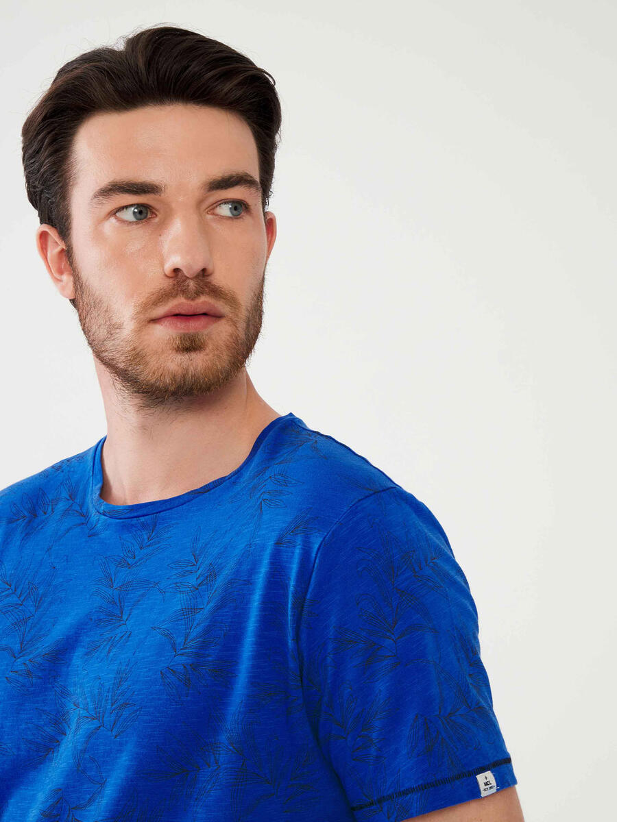 Bisiklet Yaka Pamuklu Slim Fit Baskılı Tişört