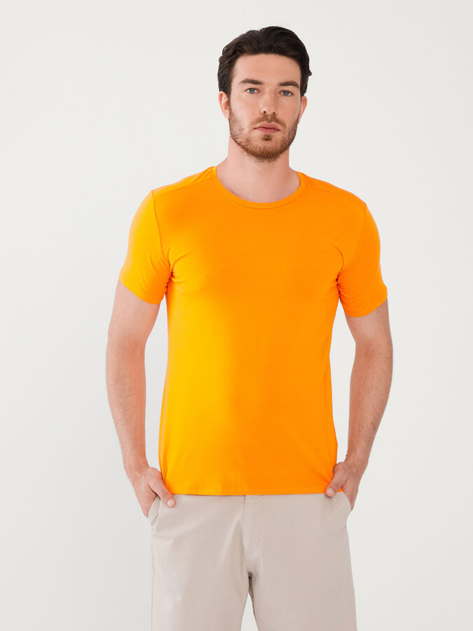 Bisiklet Yaka Pamuklu Slim Fit Basic Tişört