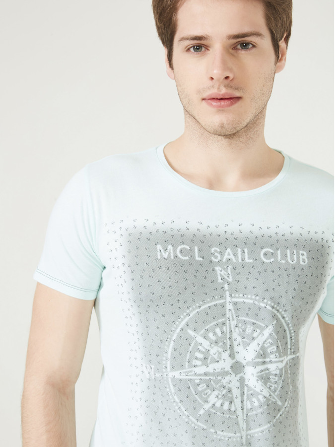 MCL - MCL Bisiklet Yaka Baskı Desenli Tişört (1)