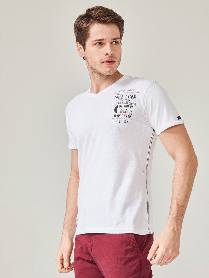 MCL - MCL Bisiklet Yaka Baskılı Tişört