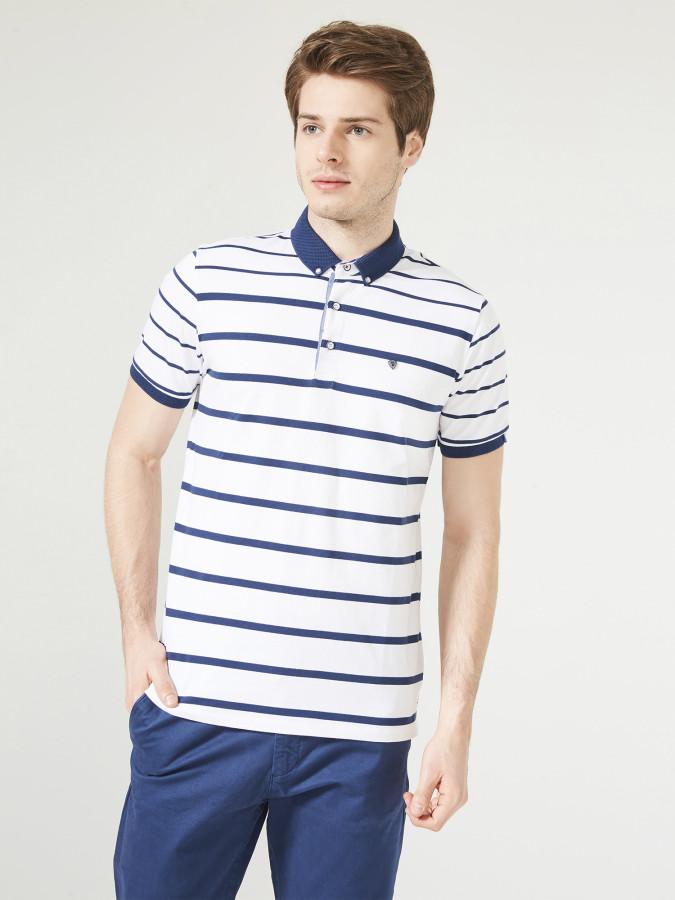 MCL - MCL Polo Yaka Çizgili Tişört