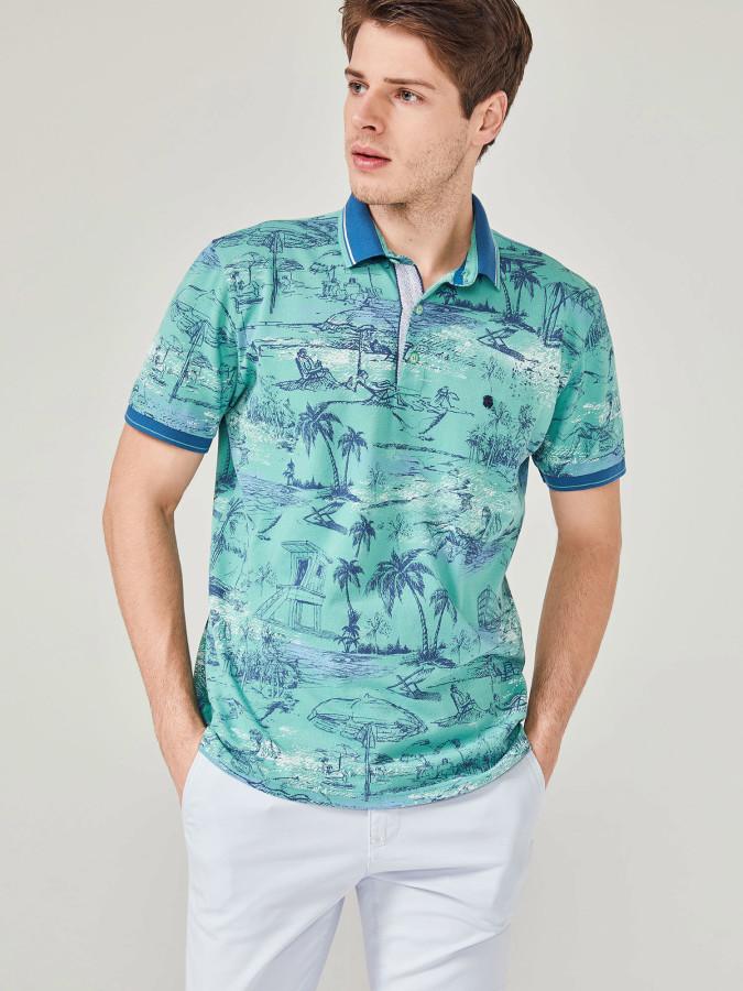 MCL - MCL Polo Yaka Desenli Tişört