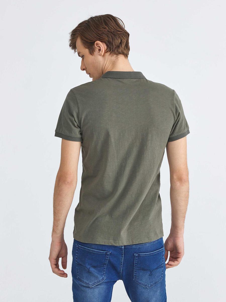 Pamuklu Polo Yaka Slim Fit Baskılı Tişört