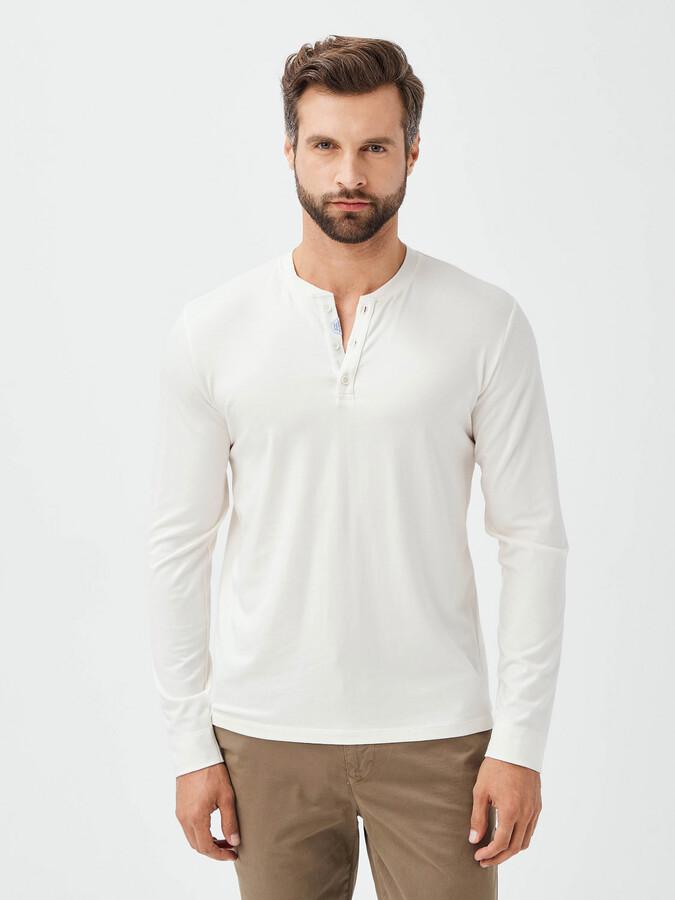 Patlı Yaka Pamuklu Slim Fit Uzun Kollu Basic Tişört