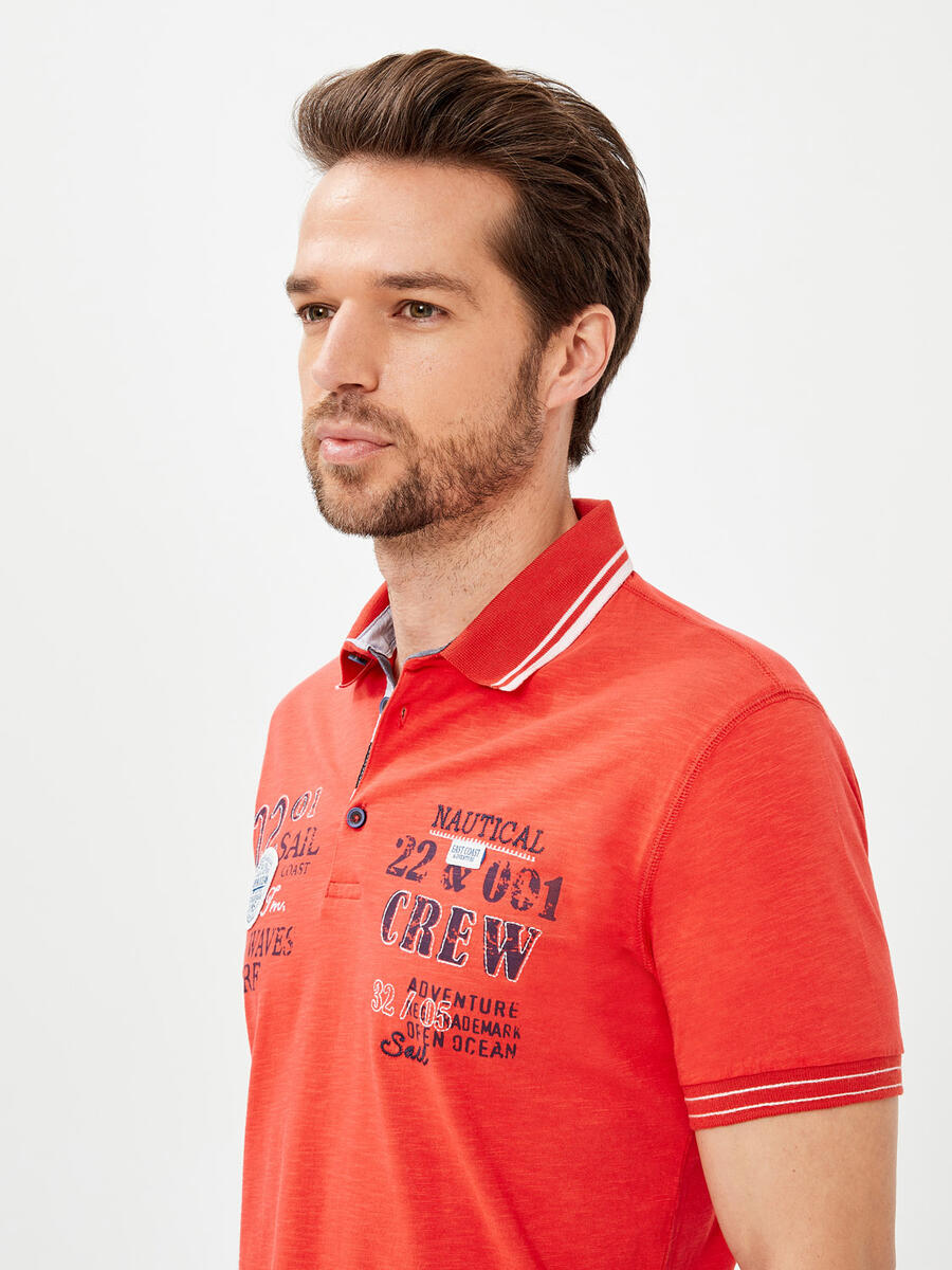 Polo Yaka %100 Pamuk Slim Fit Baskılı Büyük Beden Tişört