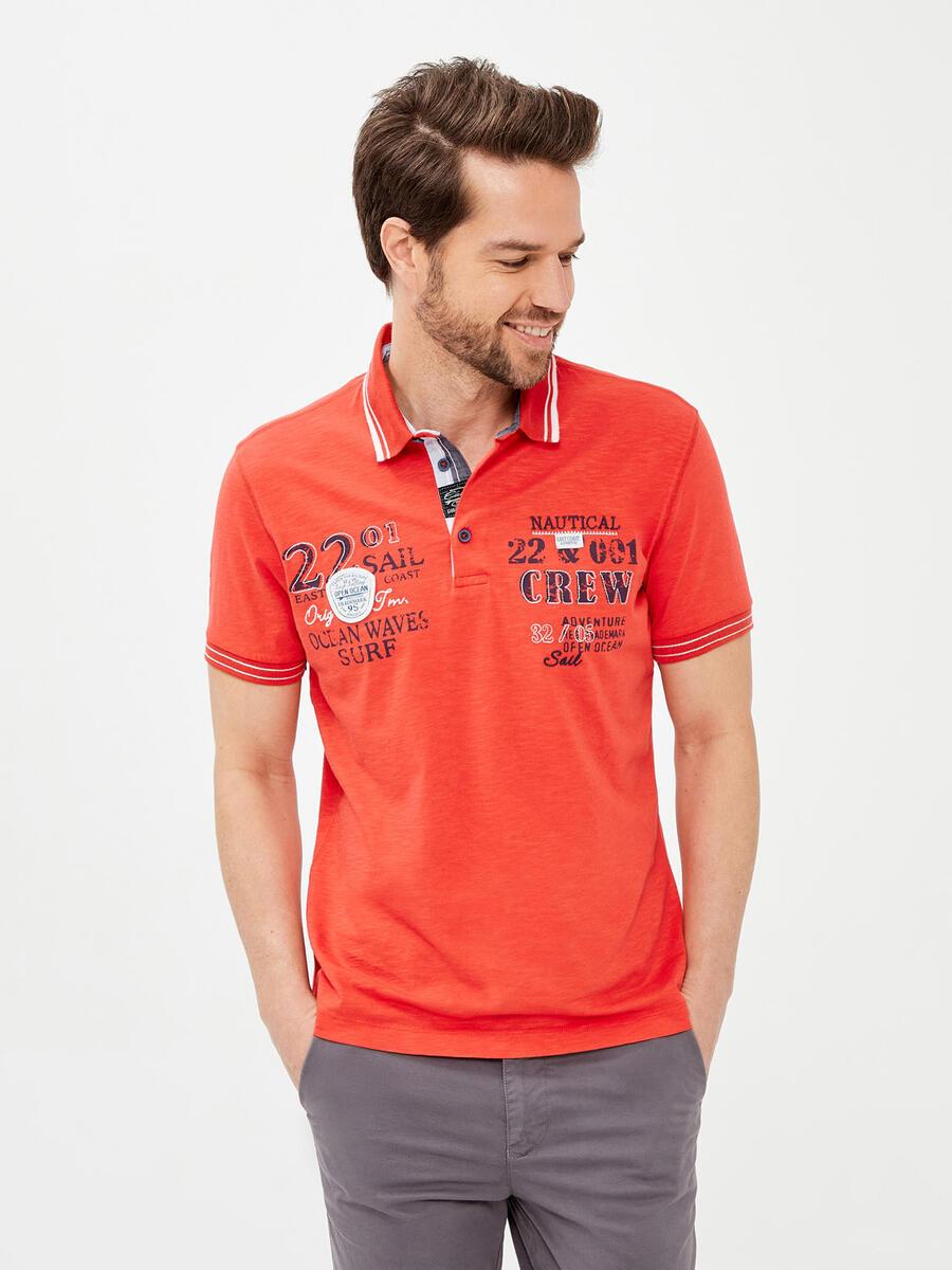 Polo Yaka %100 Pamuk Slim Fit Baskılı Tişört