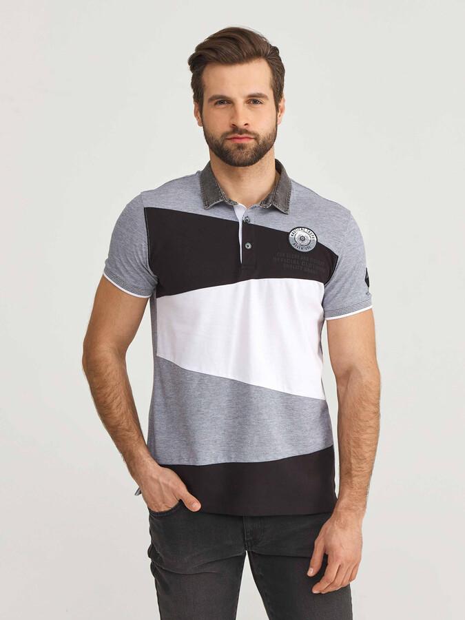 Polo Yaka %100 Pamuk Slim Fit Desenli Büyük Beden Tişört