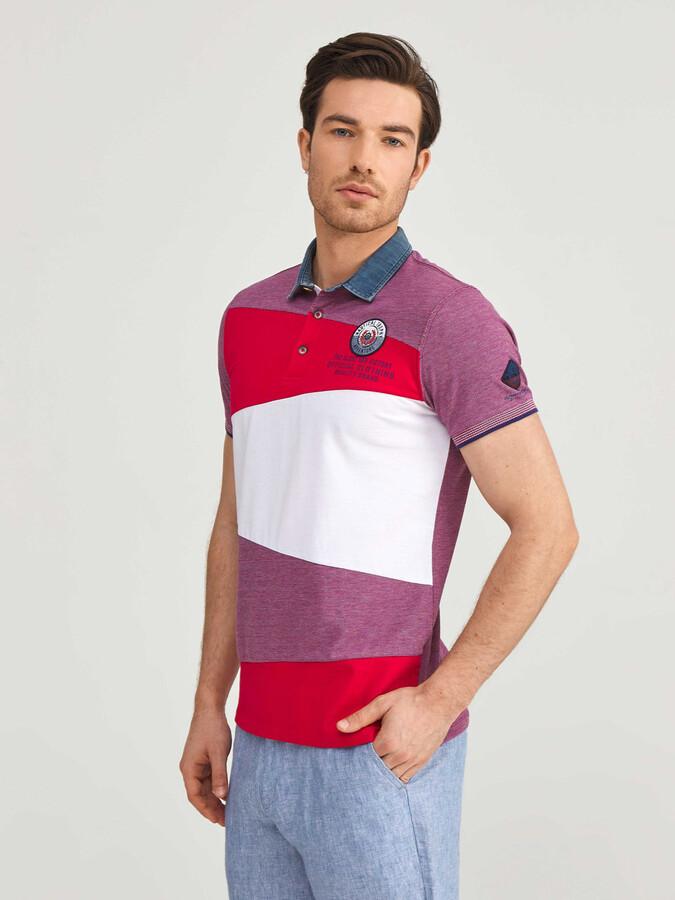 Polo Yaka %100 Pamuk Slim Fit Desenli Tişört