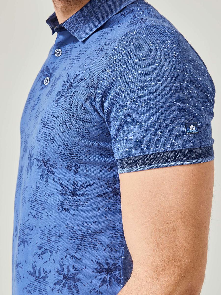 Polo Yaka Desenli Pamuklu Büyük Beden Tişört