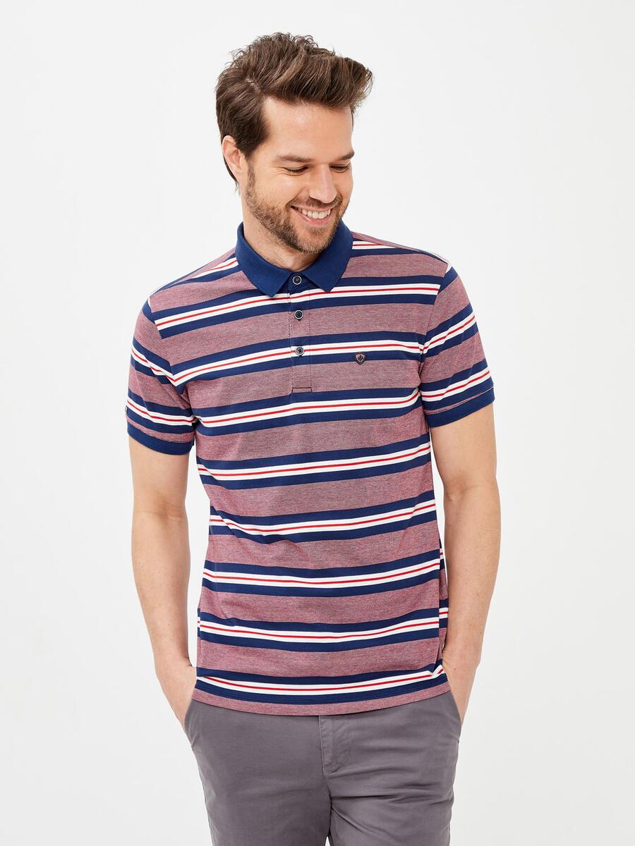 Polo Yaka Pamuklu Slim Fit Çizgili Tişört