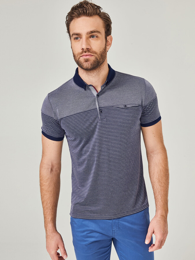 Polo Yaka Pamuklu Slim Fit Çizgili Büyük Beden Tişört