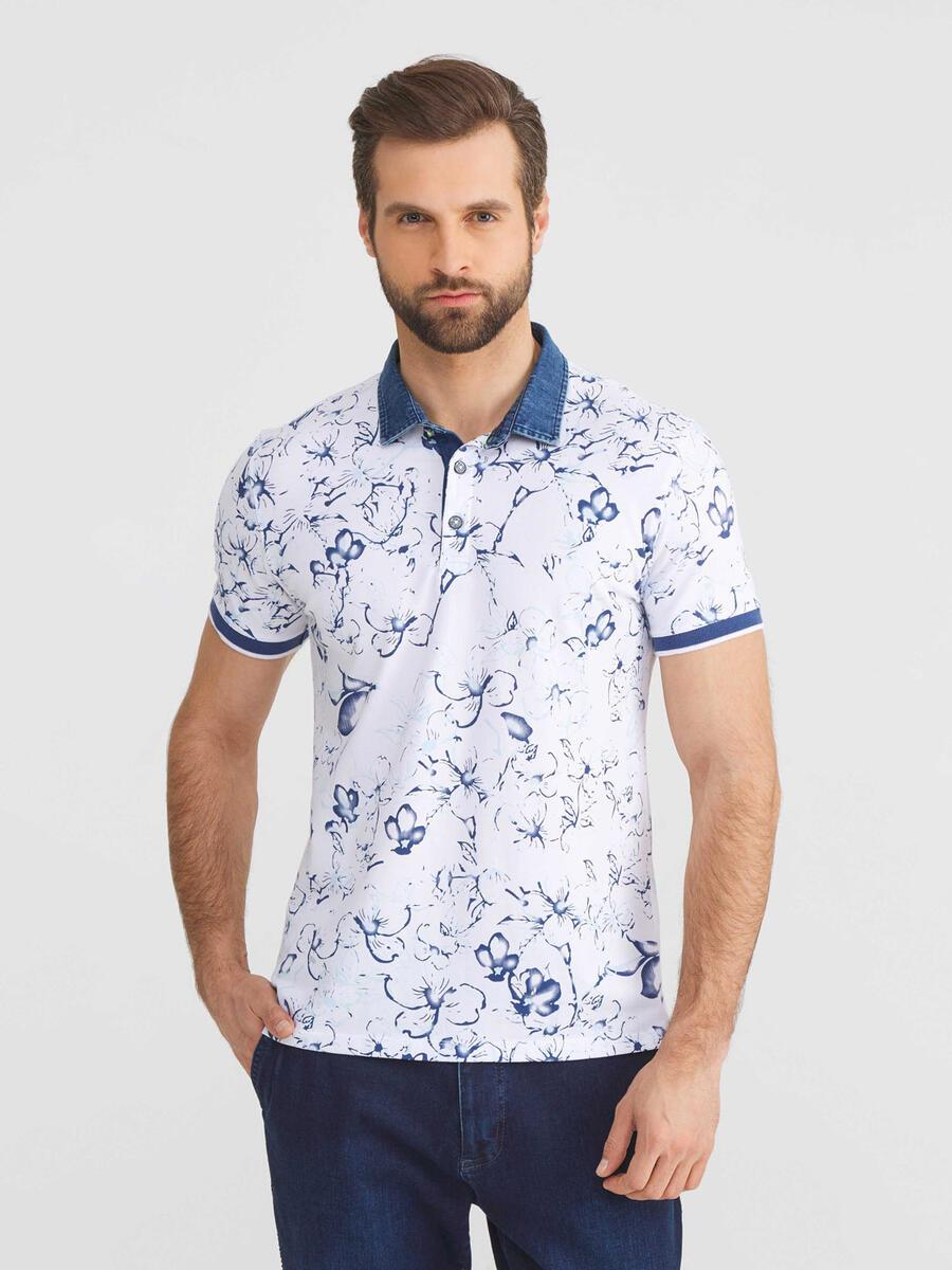 Polo Yaka Pamuklu Slim Fit Büyük Beden Desenli Tişört