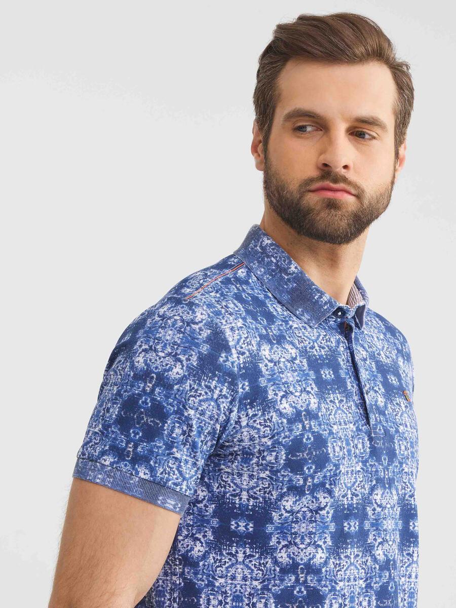 Polo Yaka Pamuklu Slim Fit Desenli Tişört