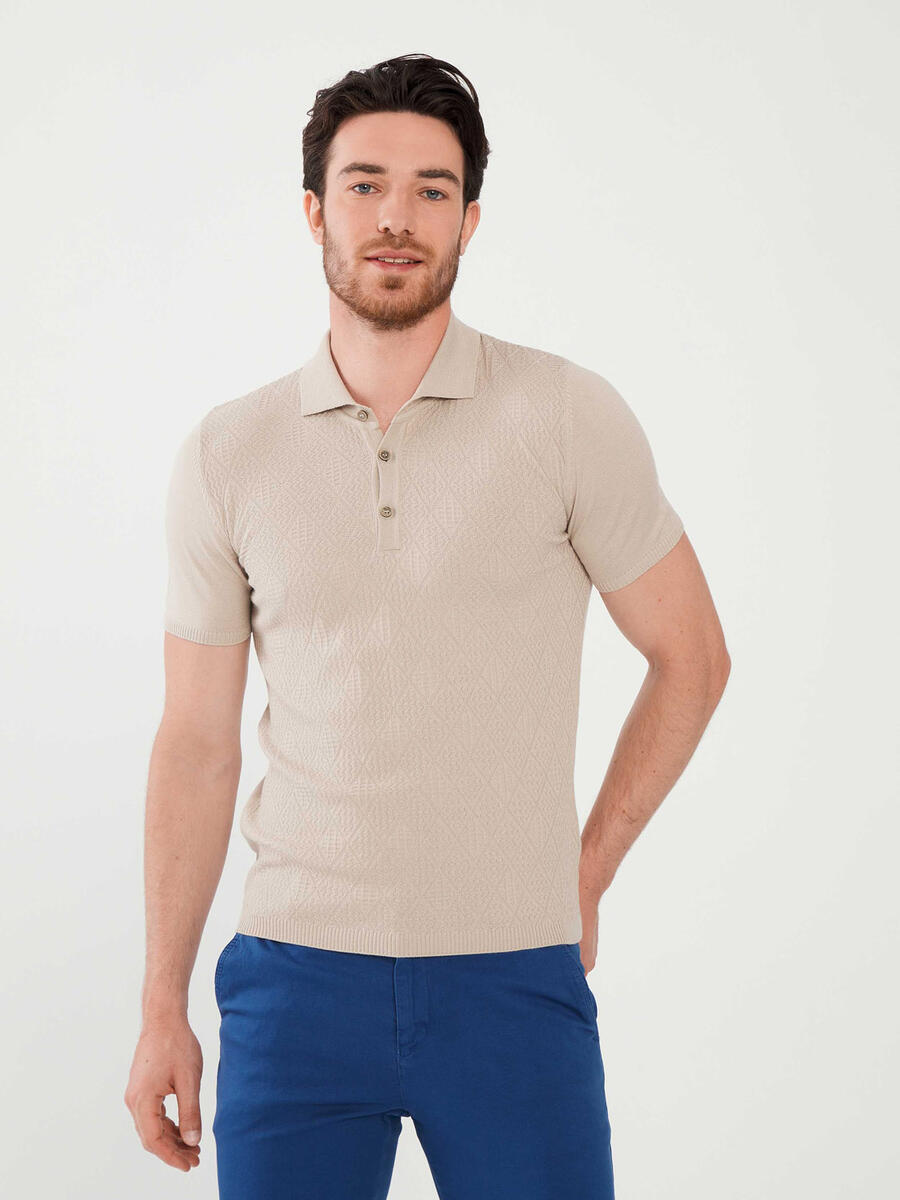 Polo Yaka Slim Fit Kısa Kol Kazak