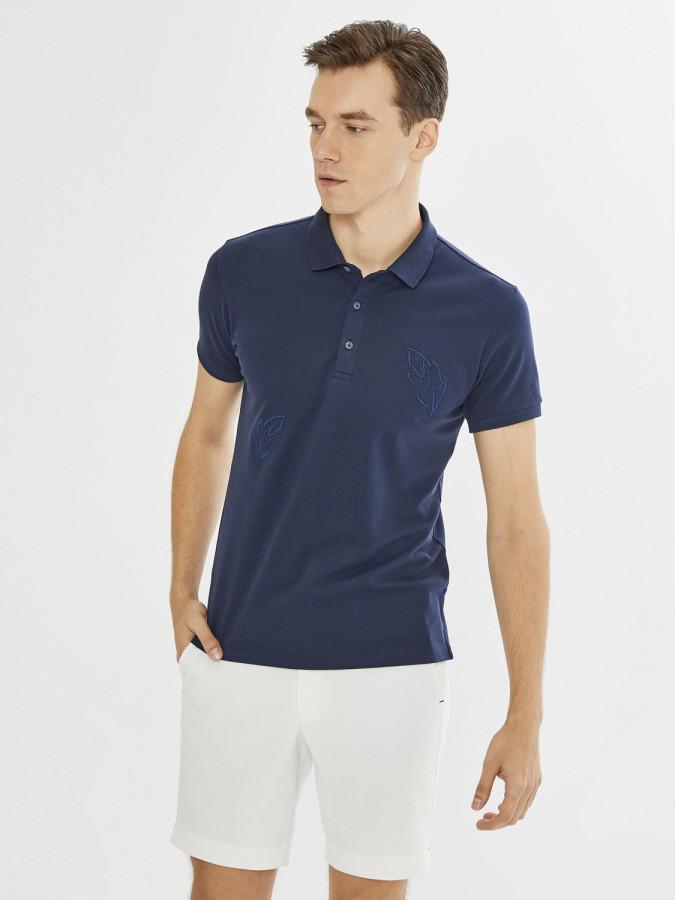 Xint Polo Yaka Yaprak Nakış Detaylı Tişört