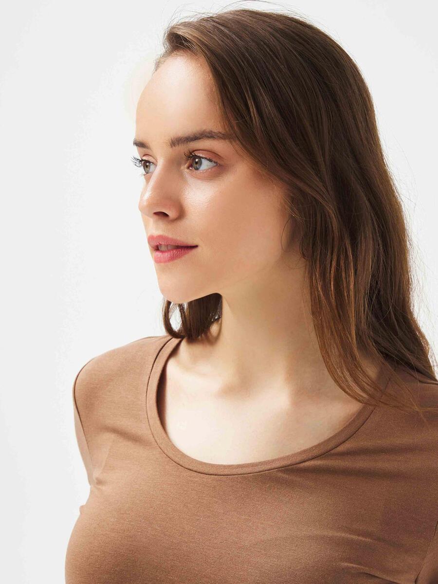 U Yaka Pamuklu Rahat Kesim Basic Uzun Kollu Tişört