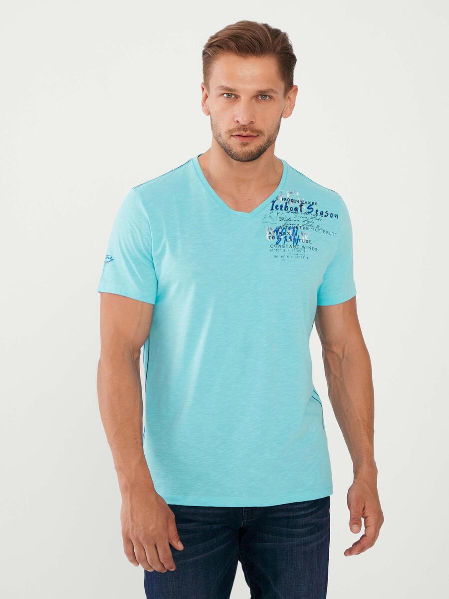 V Yaka %100 Pamuk Slim Fit Baskılı Tişört