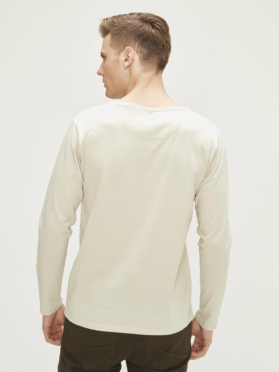 Baskılı Uzun Kollu %100 Pamuk Slim Fit Tişört
