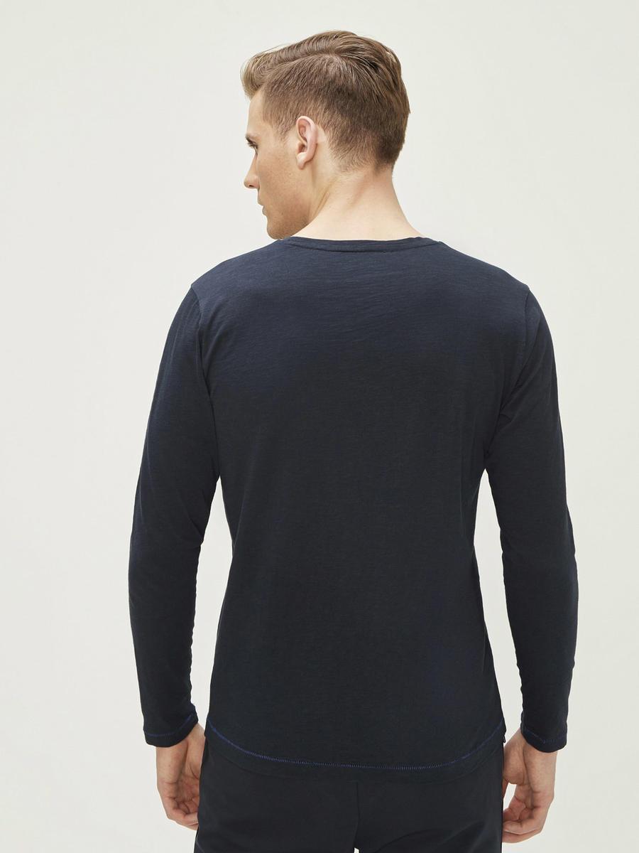 Bisikklet Yaka Nakış Detaylı %100 Pamuk Uzun Kollu Slim Fit Tişört