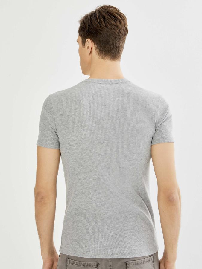 Xint Patlı Yaka Kaşkorse Basic Tişört - Thumbnail
