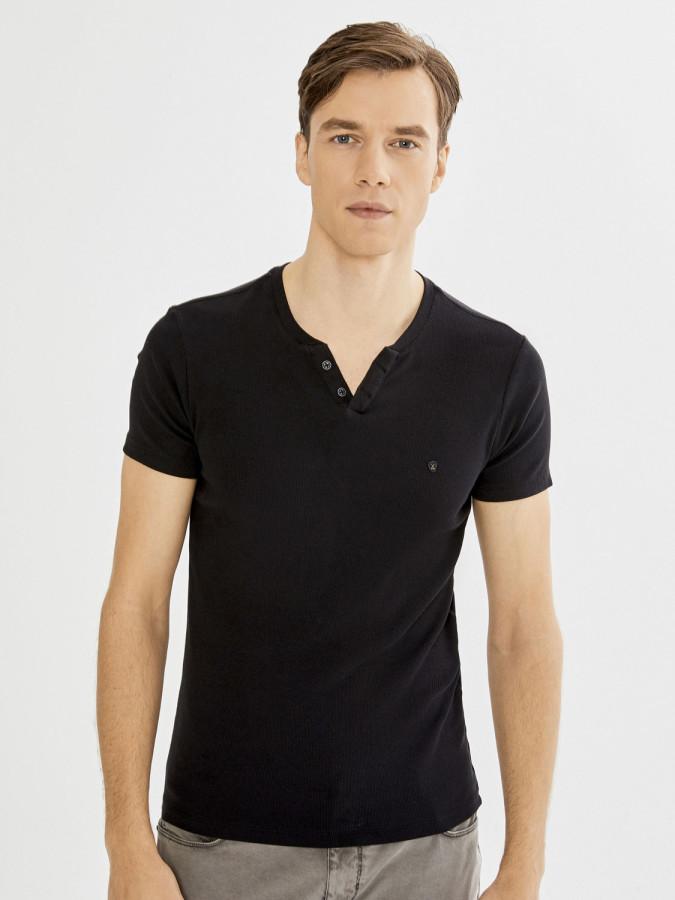 XINT - Xint Patlı Yaka Kaşkorse Basic Tişört (1)