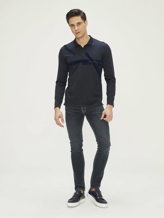XINT - Xint Polo Yaka Baskılı Uzun Kollu Tişört (1)