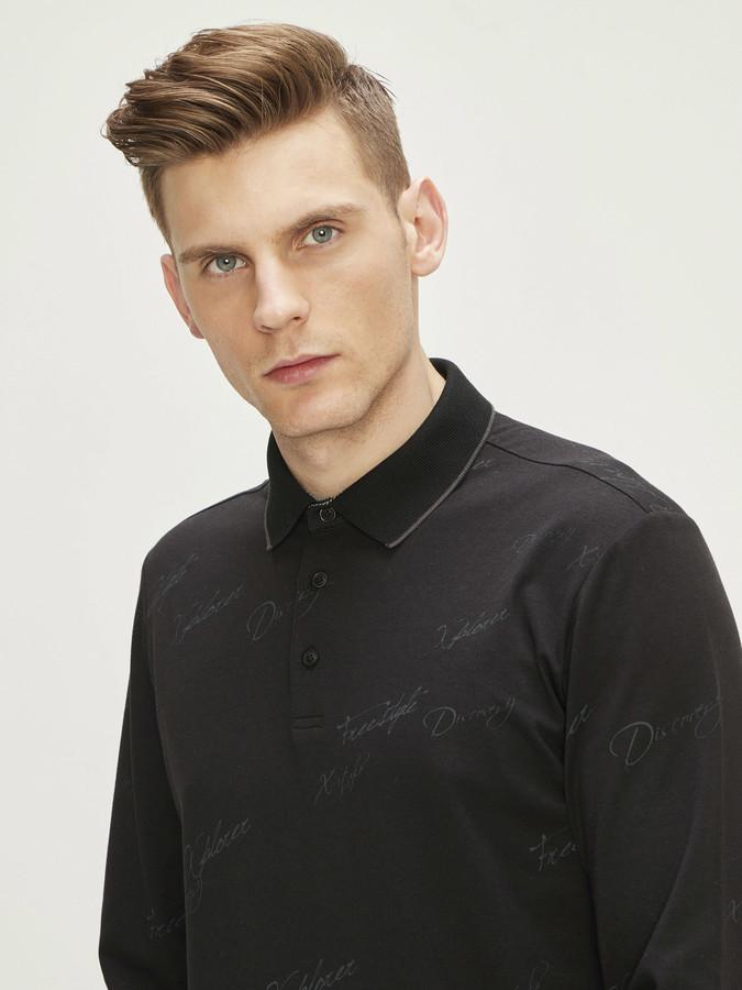 Polo Yaka Baskılı Modal Uzun Kollu Slim Fit Tişört