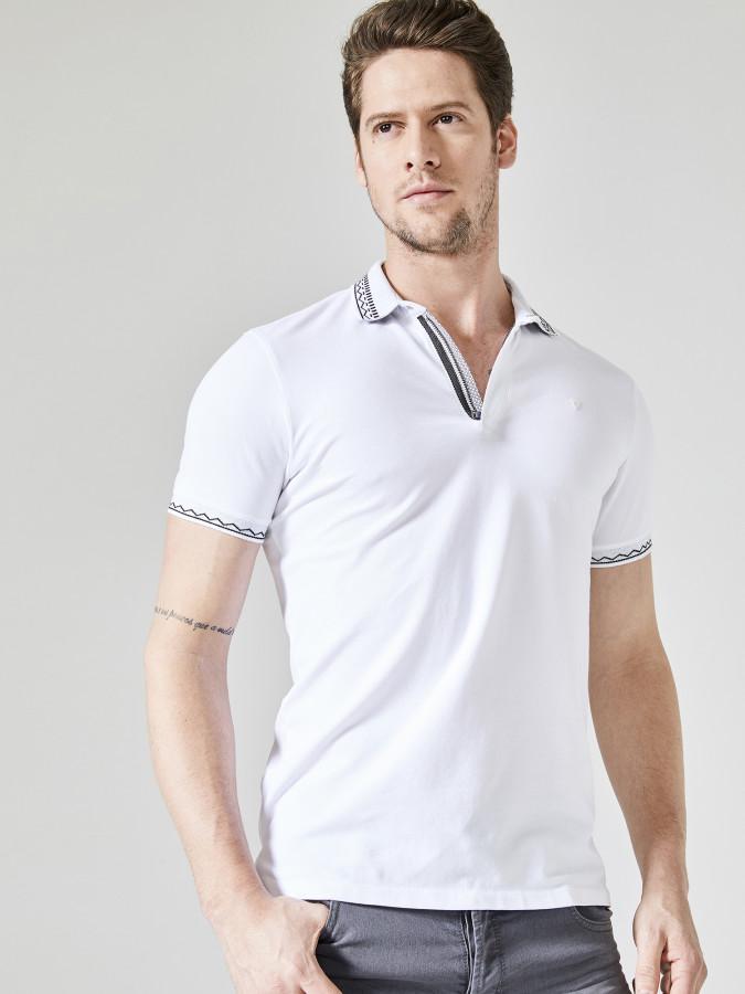 XINT - Xint Polo Yaka Fermuar Detaylı Tişört