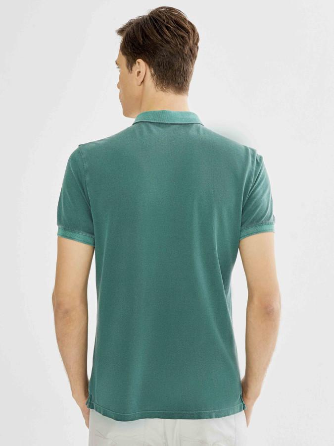 Xint Polo Yaka Parça Boyalı Tişört - Thumbnail