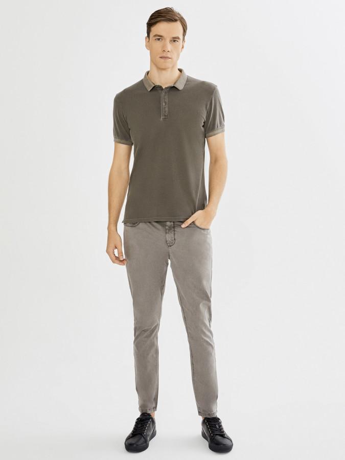 XINT - Xint Polo Yaka Parça Boyalı Tişört (1)