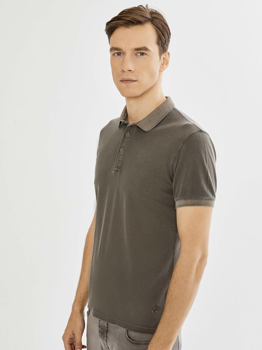Polo Yaka Pamuklu Parça Boyalı Slim Fit Tişört