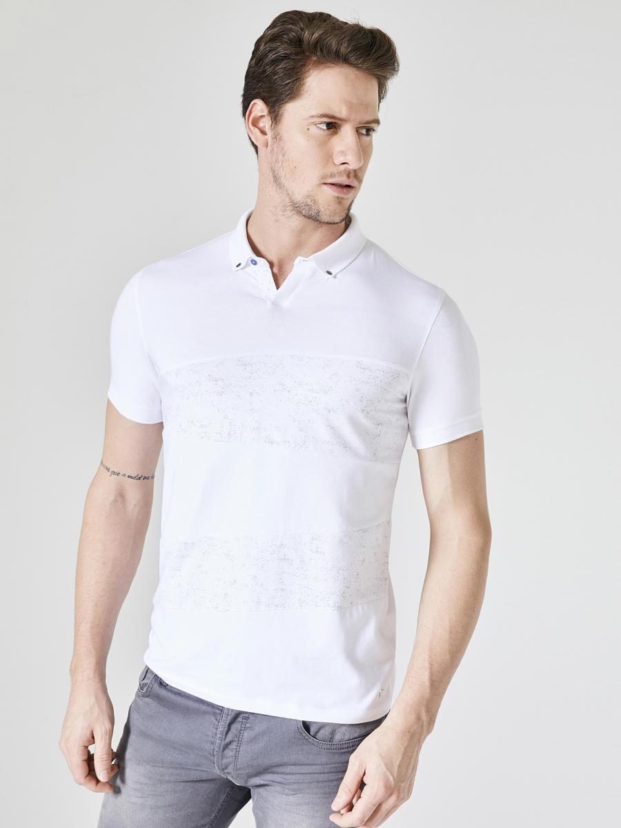 Xint Polo Yaka Patlı Baskılı Tişört