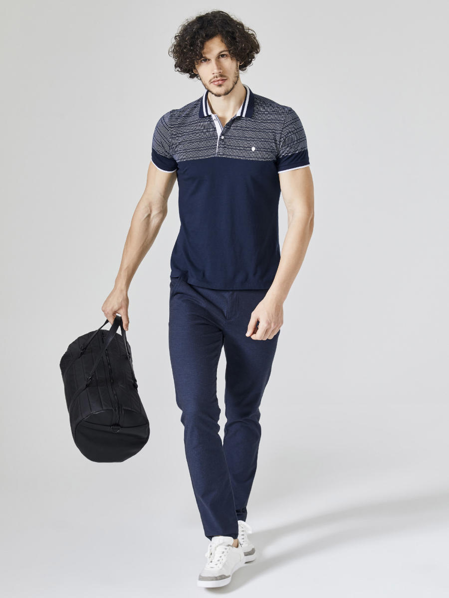 Xint Polo Yaka Trikosu Çizgili Tişört