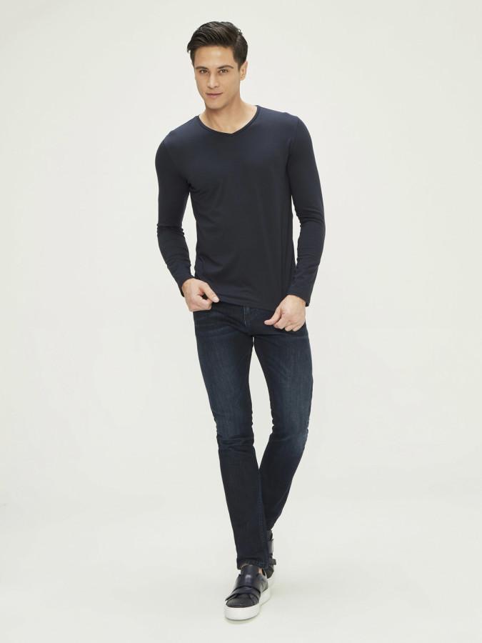 XINT - Xint V Yaka Uzun Kollu Basic Tişört (1)