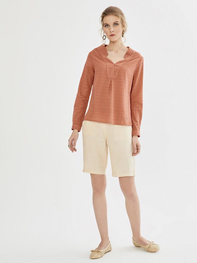 XINT - Xint Anvelop Kapamalı Yaka Desenli Bluz (1)