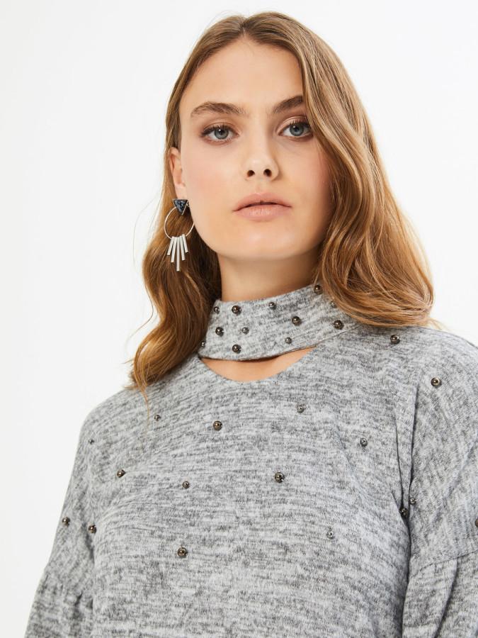XINT - Xint Dik Yakalı İnci Detaylı Kolları Balonlu Bluz