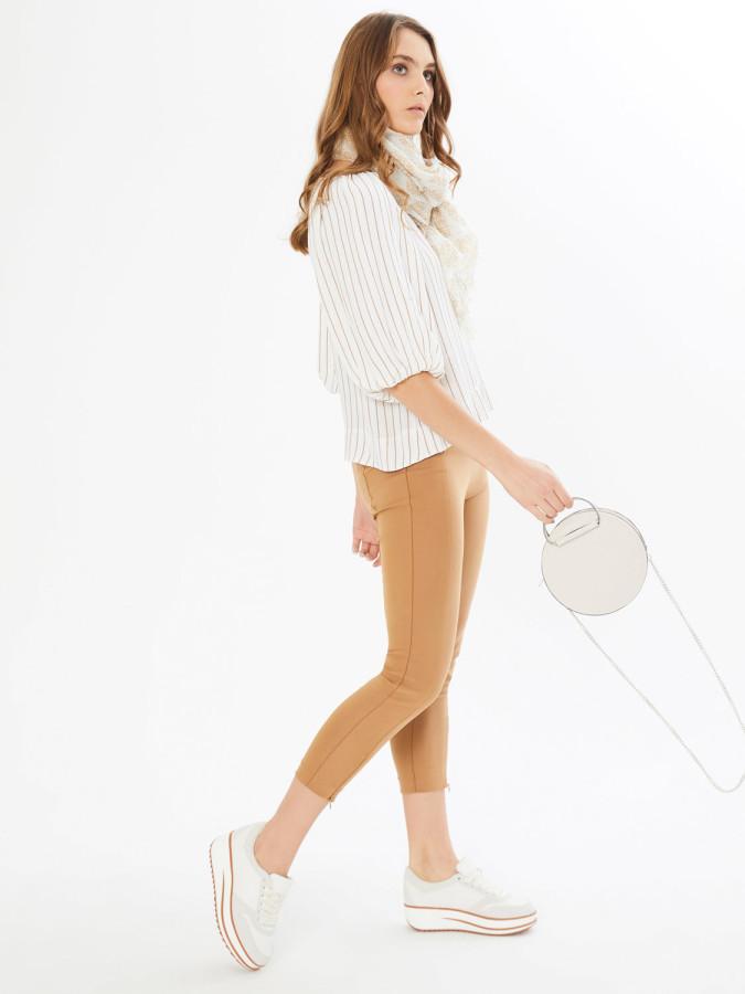 XINT - Xint Kayık Yaka Balon Kollu Çizgili Bluz