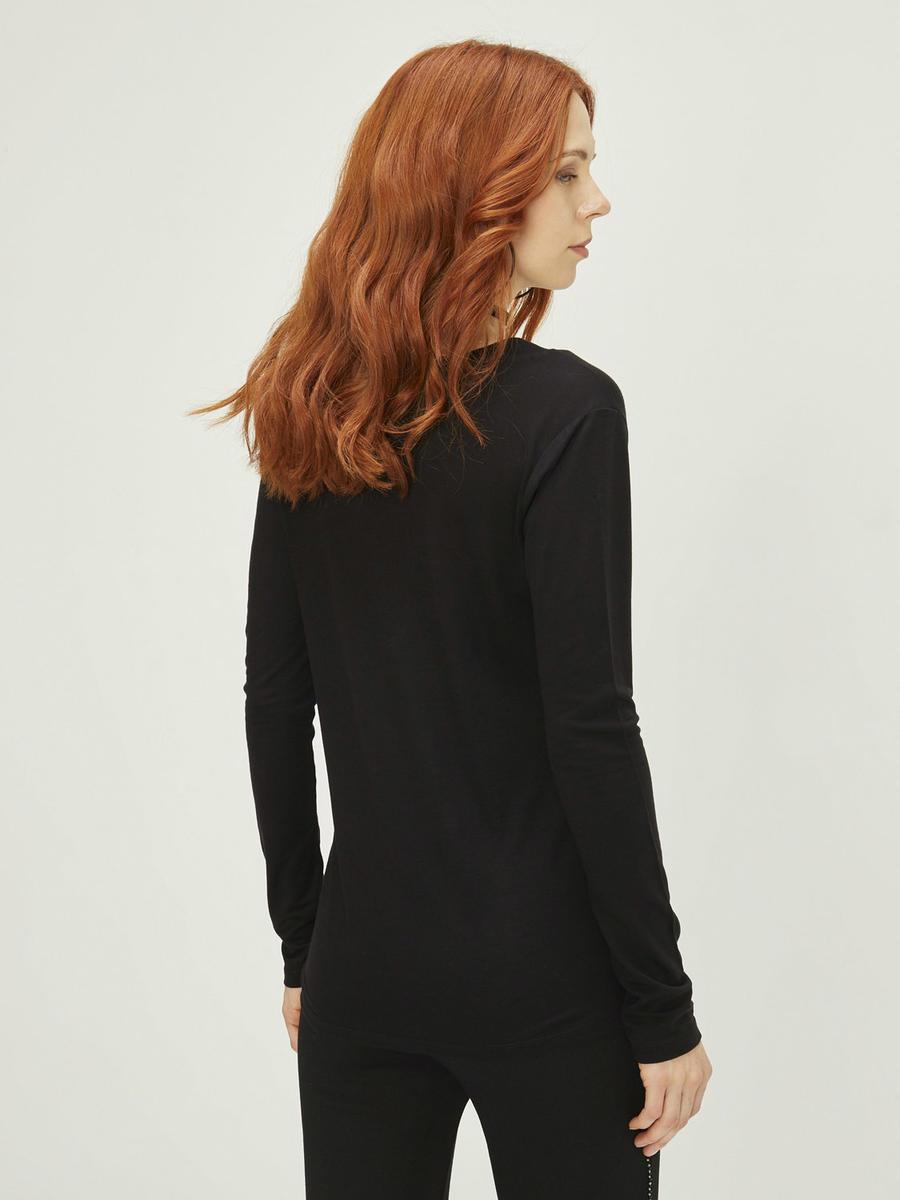 Xint V Yaka Tek Yakası Pul İşlemeli Bluz