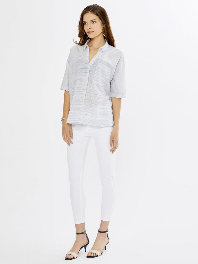 XINT - Xint Yuvarlak Yaka Baskı ve Nakış Detaylı Bluz (1)