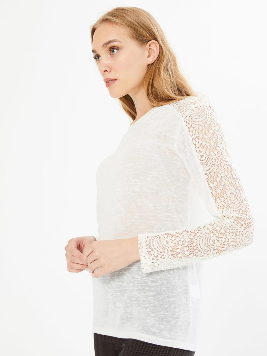 Xint Yuvarlak Yaka Dantel Detaylı Bluz