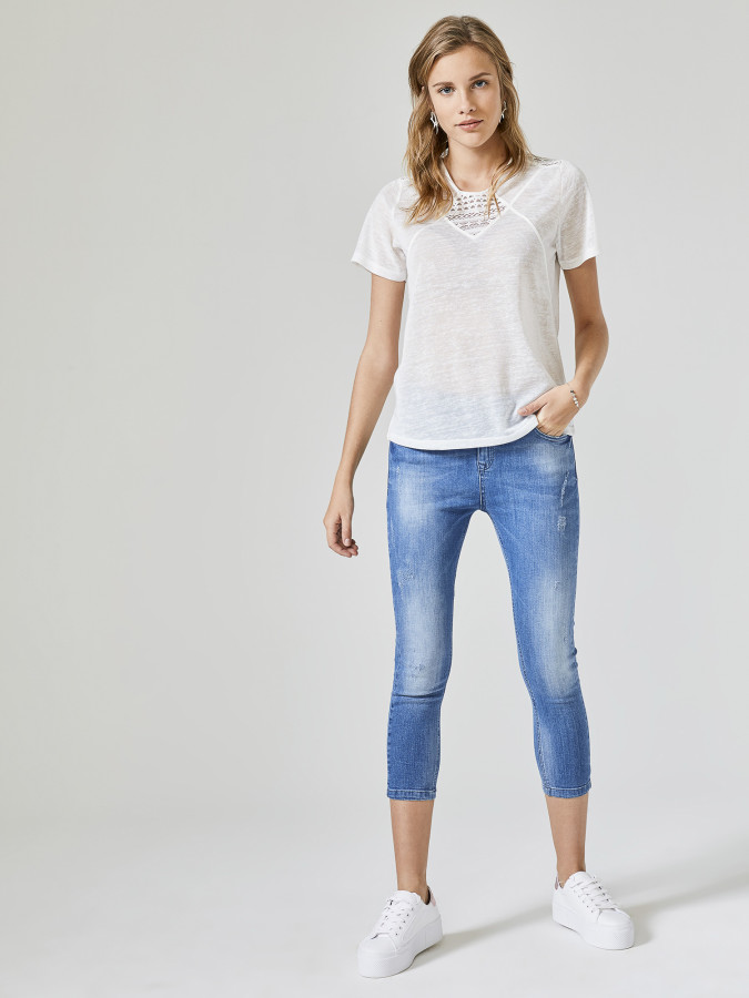XINT - Xint Yuvarlak Yaka Dantel Detaylı Bluz (1)